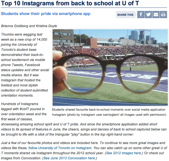 Instagram News Release from the University of Toronto
