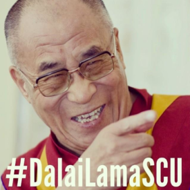 Using the #DalaiLamaSCU hashtag, Santa Clara's social media team arranged an amazing online event around His Holiness' visit to campus.