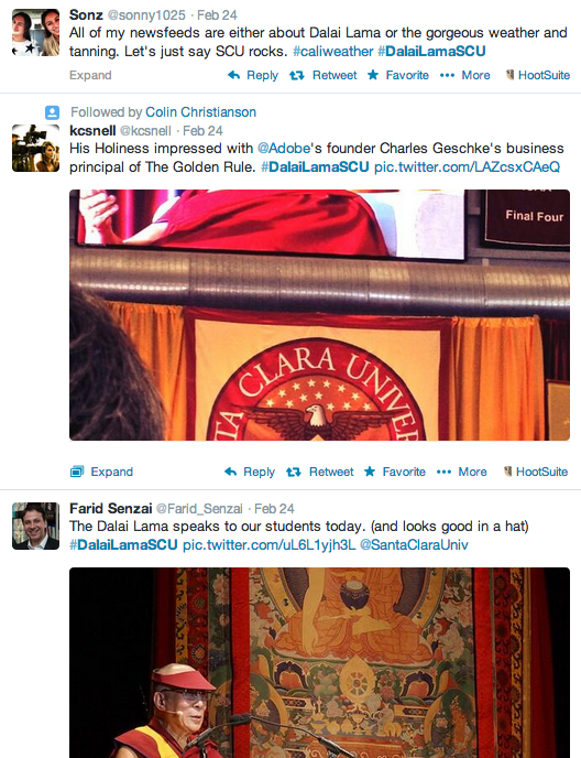 SCU's timely and consistent conversation management helped ensure mostly positive online discourse around the Dalai Lama's visit.