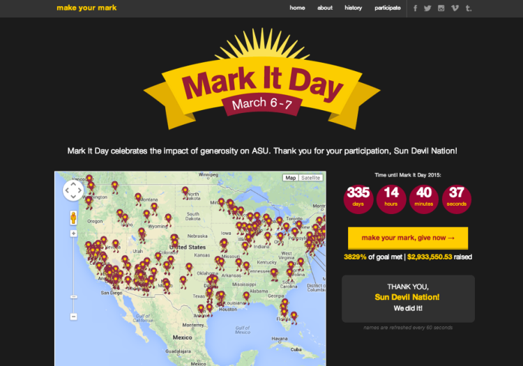 ASU's Mark It Day started with an attractive, engaging campaign home page.