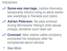 Facebook Trending List