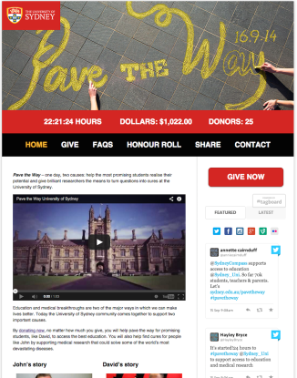 "The University of Sydney's ""Pave the Way"" campaign was successful in part due to its image and video-drive landing page."